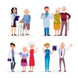 Gente feliz y doctores mayores sanos que tienen control médico para arriba en el ejemplo plano del vector de la clínica de reposo Imagen de archivo libre de regalías