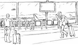 Gente frustrada que muestra diversas emociones y las expresiones que esperan en la puerta de salida del aeropuerto ilustración del vector