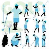 Gente Golfing stock de ilustración