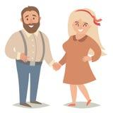 Gente gorda Gente del tamaño extra grande Pares, hombre y mujeres gordos felices stock de ilustración