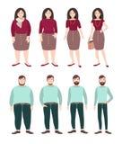 Gente gorda y delgada Concepto de la pérdida de peso Figura de la mujer y del hombre Ejemplo plano colorido