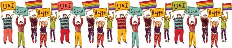 Gente homosexual del lgbt de la reunión de grupo de Horisontal con las banderas del arco iris libre illustration