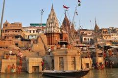 Gente indiana a Varanasi santa. Fotografie Stock Libere da Diritti