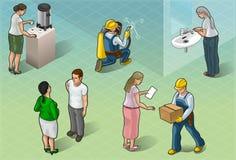 Gente isométrica de los servicios en algunas posiciones stock de ilustración