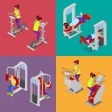 Gente isométrica en el gimnasio Entrenamiento de los deportistas Equipo de deportes Ejercicios de la aptitud Imágenes de archivo libres de regalías