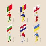 Gente isometrica con le bandiere: Il Portogallo, Andorra, Ucraina, Gibralt illustrazione vettoriale