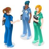 Gente isometrica dell'infermiere di vettore medico di Education Doctor Training Immagini Stock Libere da Diritti