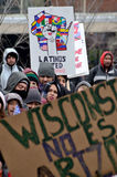 Gente ispana ad una protesta di immigrazione in Wisconsin Fotografia Stock Libera da Diritti