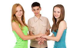Gente joven, alumnos que llevan a cabo las manos Foto de archivo