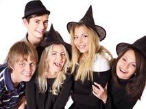 Gente joven del grupo en partido. Imagenes de archivo