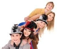 Gente joven del grupo en partido. Fotos de archivo libres de regalías