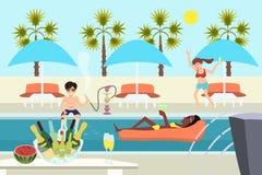 Gente joven en la historieta del vector de la fiesta en la piscina Imagen de archivo