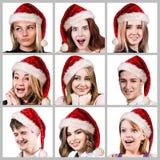 Gente joven en sombrero de la Navidad Imagen de archivo