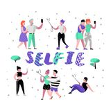 Gente joven que hace Selfie con Smartphone Caracteres planos en las diversas actitudes que toman la foto con el teléfono móvil ad Libre Illustration