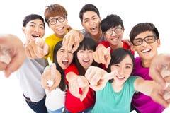 Gente joven que señala en usted Foto de archivo libre de regalías