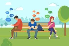 Gente joven que se sienta en el parque y los mensajes que mandan un SMS en charla usando smartphone móvil ilustración del vector