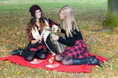 Gente joven que tiene comida campestre en parque entre las hojas de otoño Imagenes de archivo