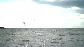 Gente kitesurfing en el océano Embarque extremo de la cometa en tiempo real metrajes