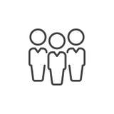Gente, línea icono, muestra del vector del esquema, pictograma linear de la dirección del estilo aislado en blanco stock de ilustración