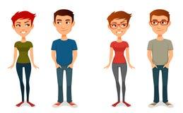 Gente linda de la historieta en equipos casuales Imagen de archivo libre de regalías