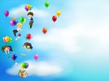 Gente linda y niños de la historieta que flotan en el s Foto de archivo