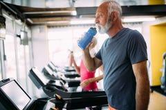 Gente mayor que corre en rueda de ardilla de la m?quina en el club del gimnasio de la aptitud fotografía de archivo libre de regalías
