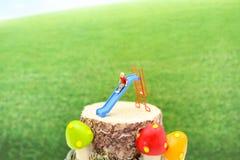 Gente miniatura: Bambini felici che giocano sullo scorrevole con il backg della natura Immagini Stock Libere da Diritti