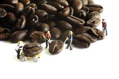 Gente miniatura con el grano de café Imagen de archivo