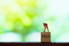 Gente miniatura, ingeniero que trabaja en de madera Imagen de archivo libre de regalías