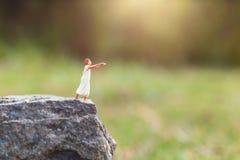 Gente miniatura: Sufrimiento soñoliento de la mujer del sonambulismo en el acantilado de la roca imágenes de archivo libres de regalías