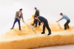 Gente miniatura: Trabajo de los trabajadores difícilmente en uso de la tostada como concepto de comer como energía para trabajar Imagen de archivo libre de regalías