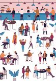Gente minuscola alla barra del caffè, del caffè o del caffè espresso Uomini e donne che si siedono alle tavole, caffè bevente o t illustrazione di stock