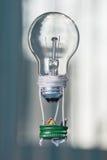 Gente minuscola in un pallone fatto da una lampadina Il concetto di Immagine Stock Libera da Diritti