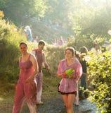 Gente mojada en Batalla del vino Imágenes de archivo libres de regalías