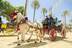 Gente montada en un caballo de carro imagen de archivo