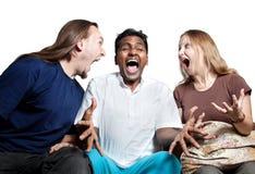 Gente multicultural del árbol que grita foto de archivo libre de regalías