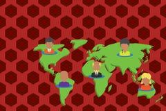 Gente multietnica del collage sulla mappa di mondo I ritratti differenti della persona della raccolta hanno disposto cinque conti illustrazione vettoriale