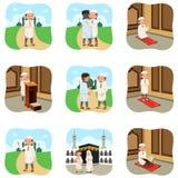 Gente musulmana che fa le loro attività religiose Fotografia Stock