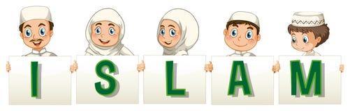 Gente musulmana che tiene la carta di islam illustrazione vettoriale