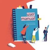Gente o encargados minúsculos que intentan abrir el manual gigante del usuario Pequeñas hombres y mujeres y guía grande de los pr stock de ilustración
