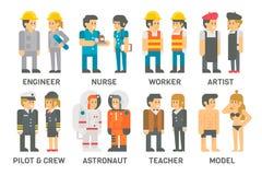 Gente piana di progettazione con le professioni fissate Immagine Stock