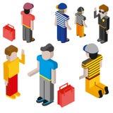 Gente plana 3d de diversas profesiones stock de ilustración