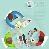 gente plana de la oficina del vector del diseño de la visión superior Foto de archivo