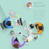 gente plana de la oficina del vector del diseño de la visión superior Imágenes de archivo libres de regalías