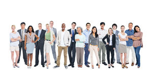 Gente profesional diversa en el fondo blanco Fotografía de archivo libre de regalías