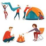 Gente que acampa en estilo de la historieta Imagen de archivo
