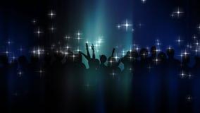 Gente que baila con las estrellas y la silueta stock de ilustración