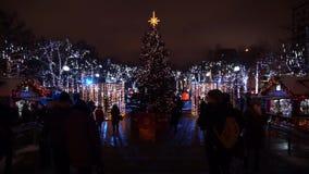 Gente que camina en el centro de ciudad adornado para la Navidad metrajes