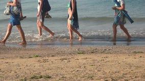 Gente que camina en la costa almacen de video