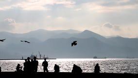 Gente que camina en la costa de mar metrajes